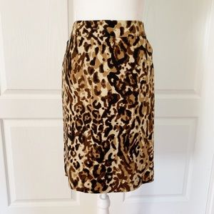 Merona | Leopard Print Pencil Skirt Sz 6
